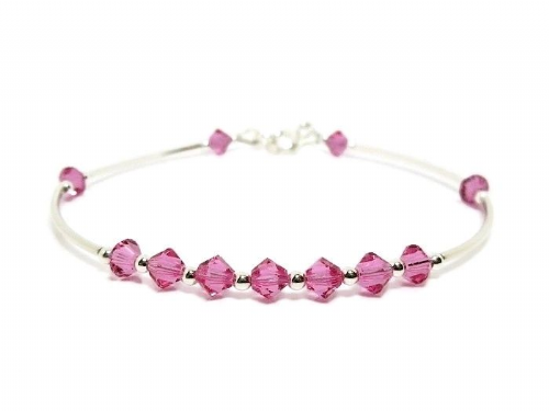 Slim  Sterling Silver Bangle Bracelet With Rose Pink Swarovski Crystals